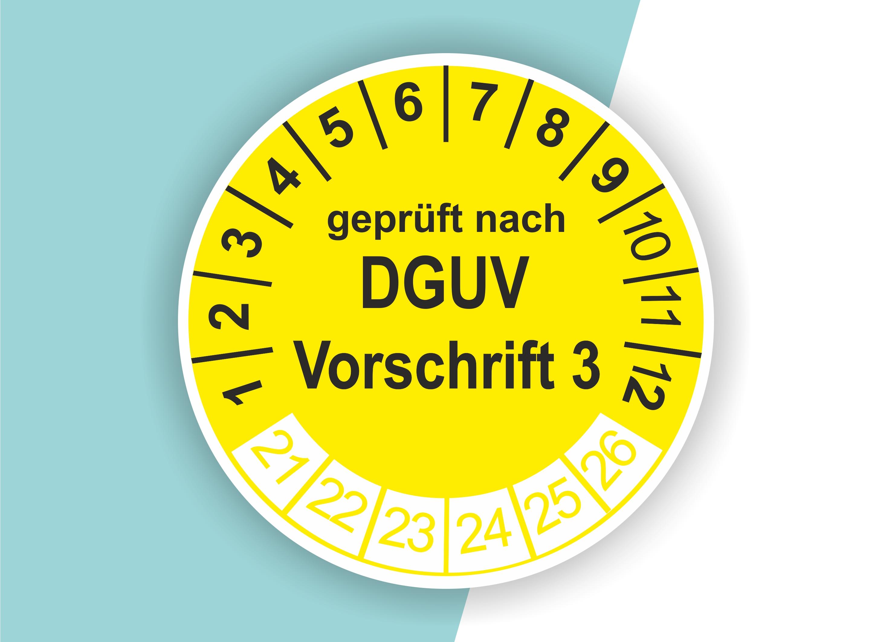 Prüfplaketten DGUV.3 als Aufkleber — 60 Stück — Ø 20 oder 30 mm — Farbe: Gelb