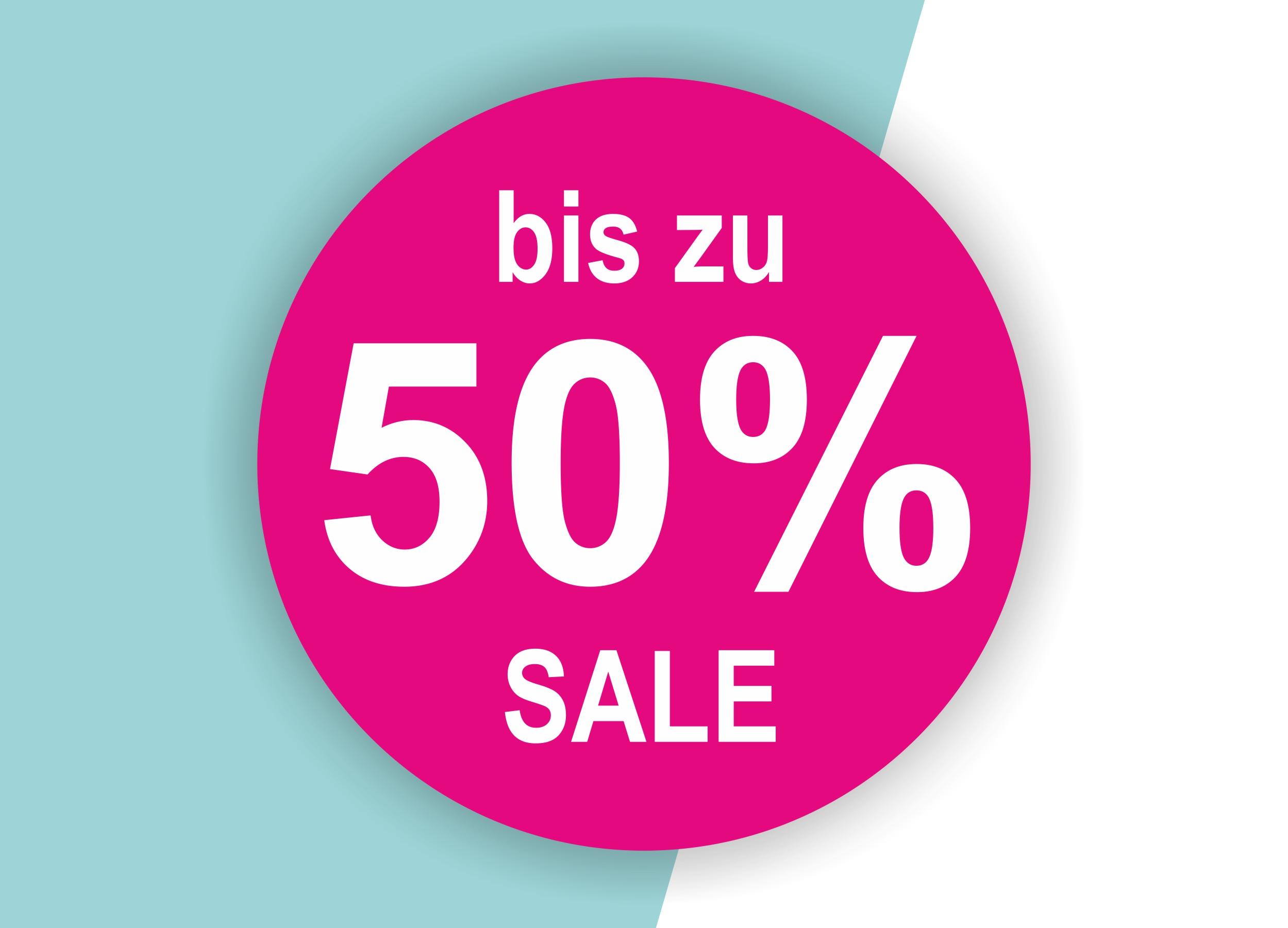50% SALE Aufkleber Schaufenster Rabatt Ausverkauf Schlussverkauf SSV WSV % — Farbe: Pink-Weiß