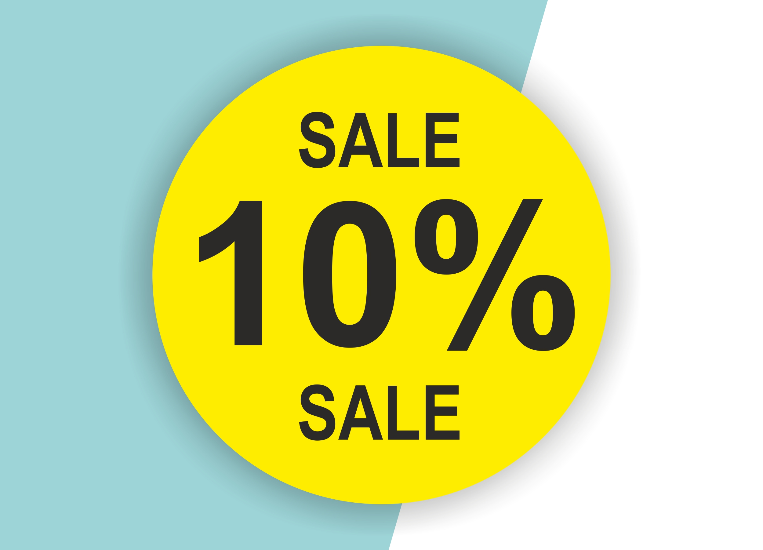 10% SALE Aufkleber Schaufenster Rabatt Ausverkauf Schlussverkauf SSV WSV % — Farbe: Gelb-Schwarz