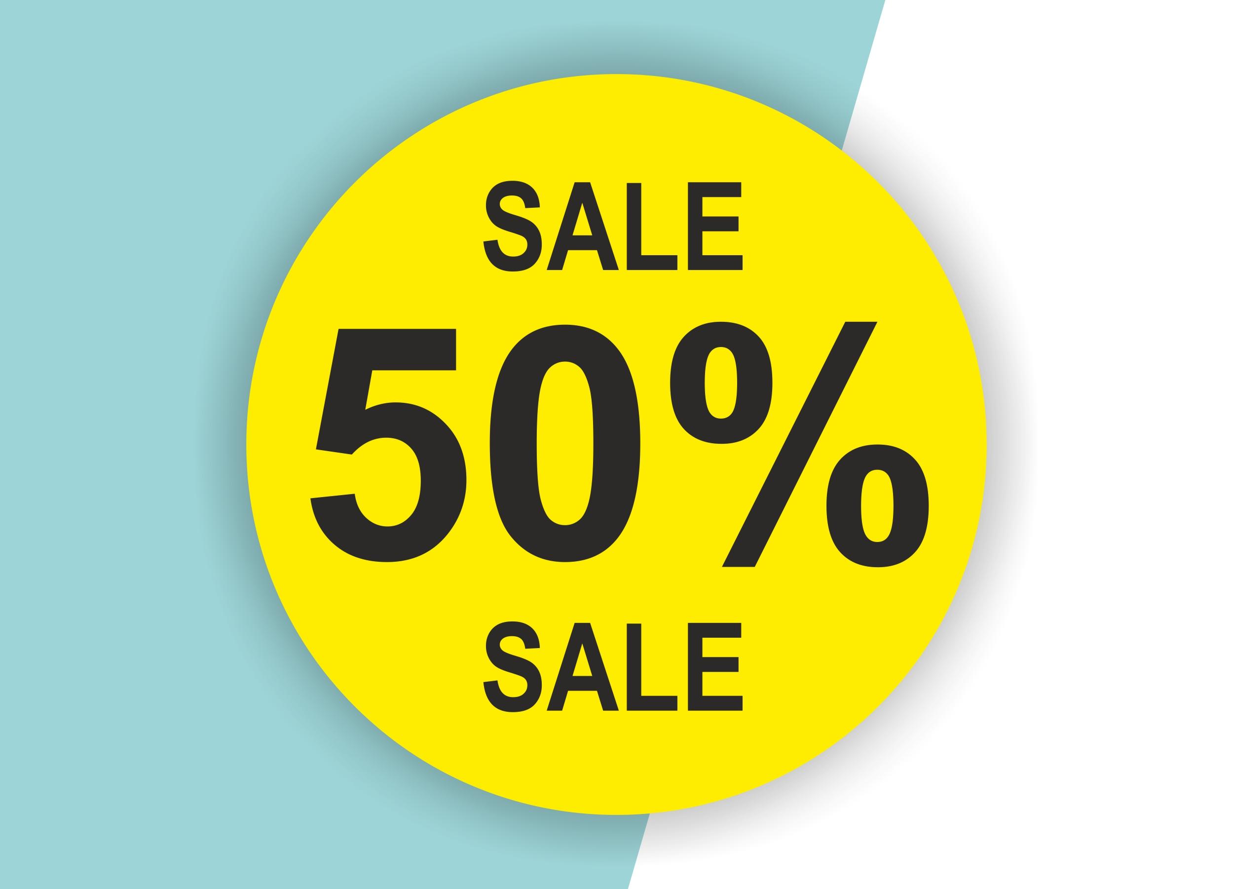 50% SALE Aufkleber Schaufenster Rabatt Ausverkauf Schlussverkauf SSV WSV % — Farbe: Gelb-Schwarz