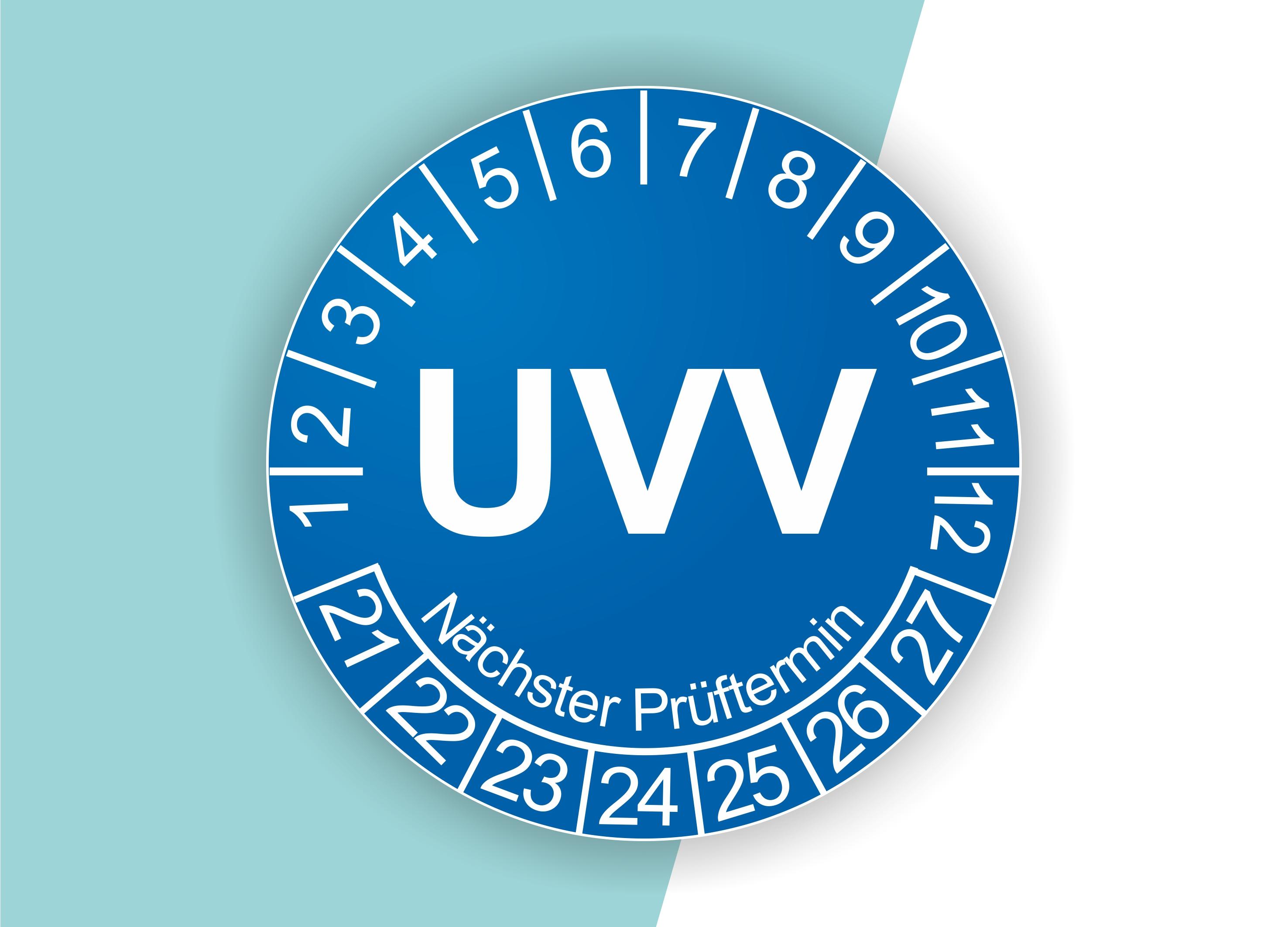 Prüfplaketten UVV als Aufkleber — 60 Stück — Ø 20 oder 30 mm — Farbe: Blau