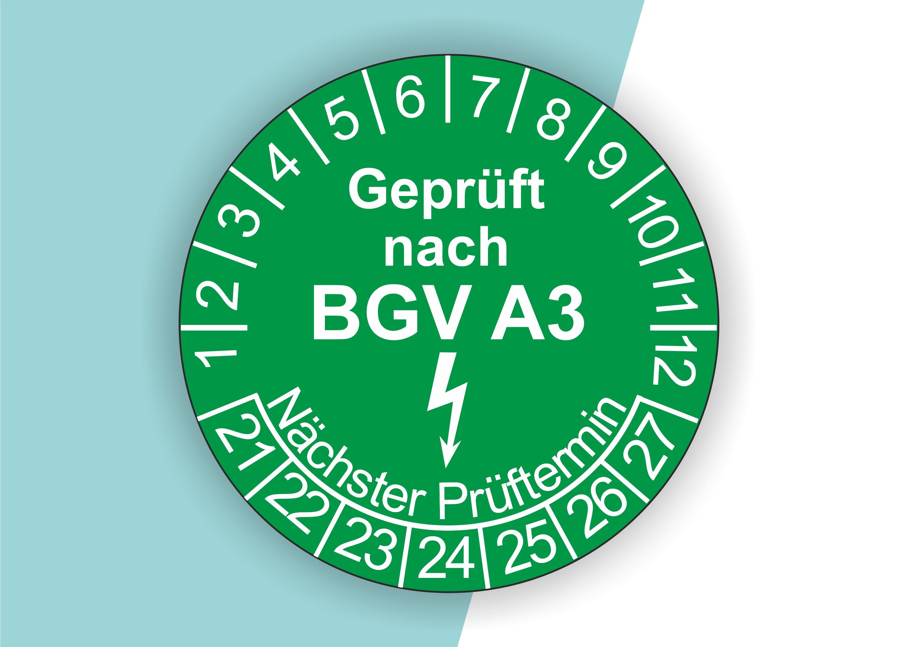 Prüfplaketten BGV als Aufkleber — 60 Stück — Ø 20 oder 30 mm — Farbe: Grün
