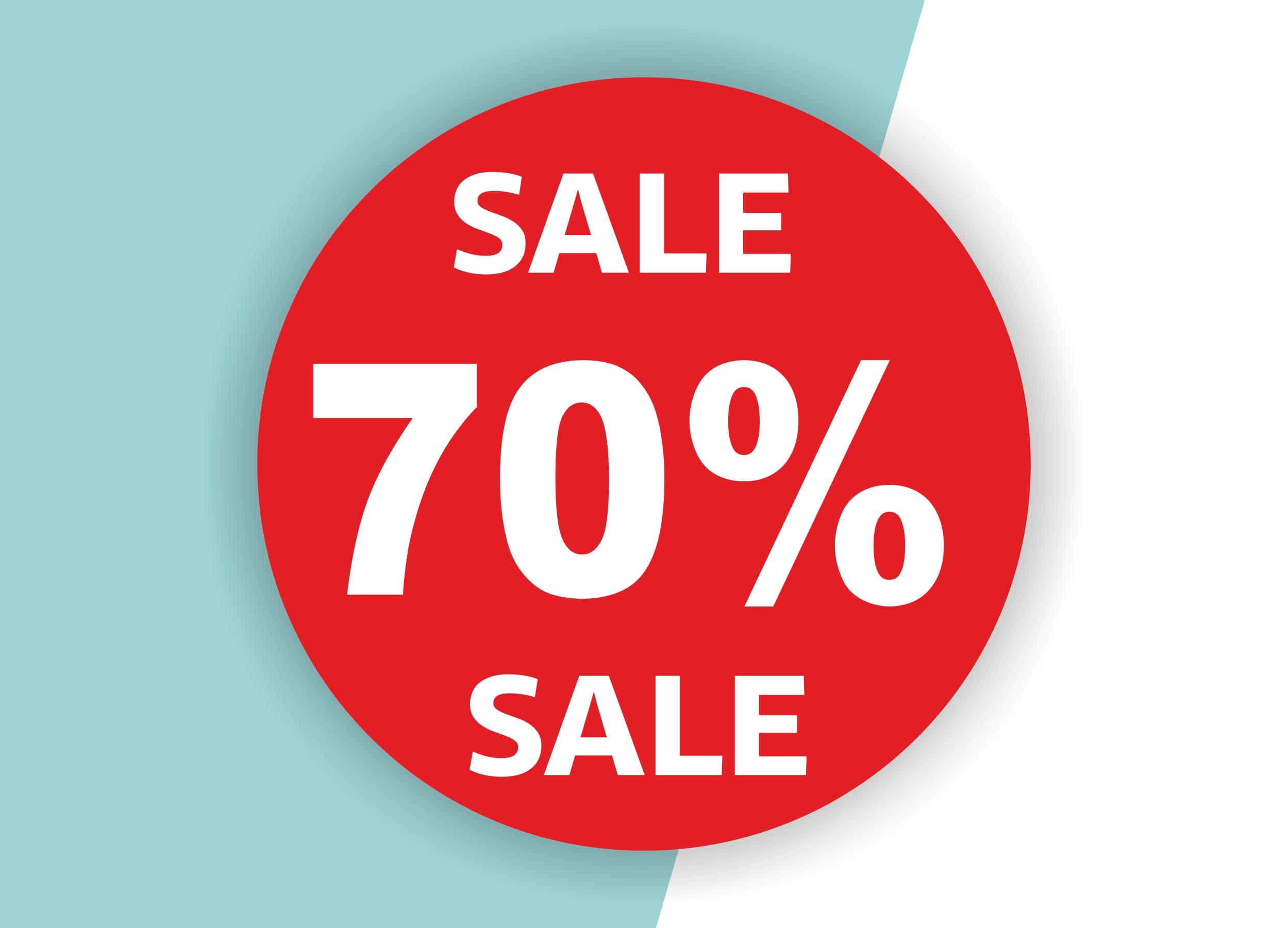 70% SALE Aufkleber Schaufenster Rabatt Ausverkauf Schlussverkauf SSV WSV % — Farbe: Rot
