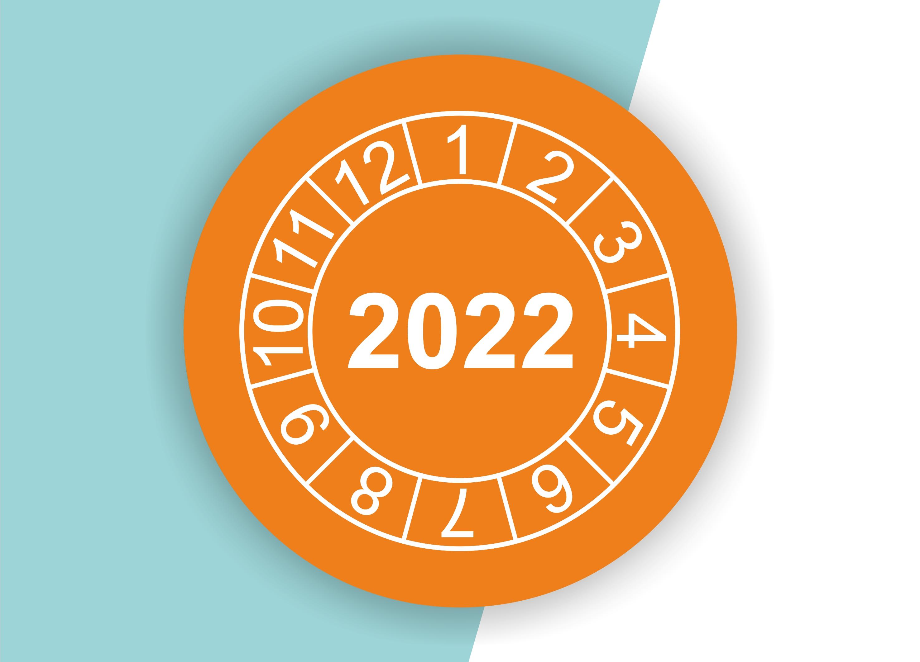 """Prüfplaketten / Jahresplaketten """"2022"""" als Aufkleber — 60 Stück — Ø 20 oder 30 mm"""