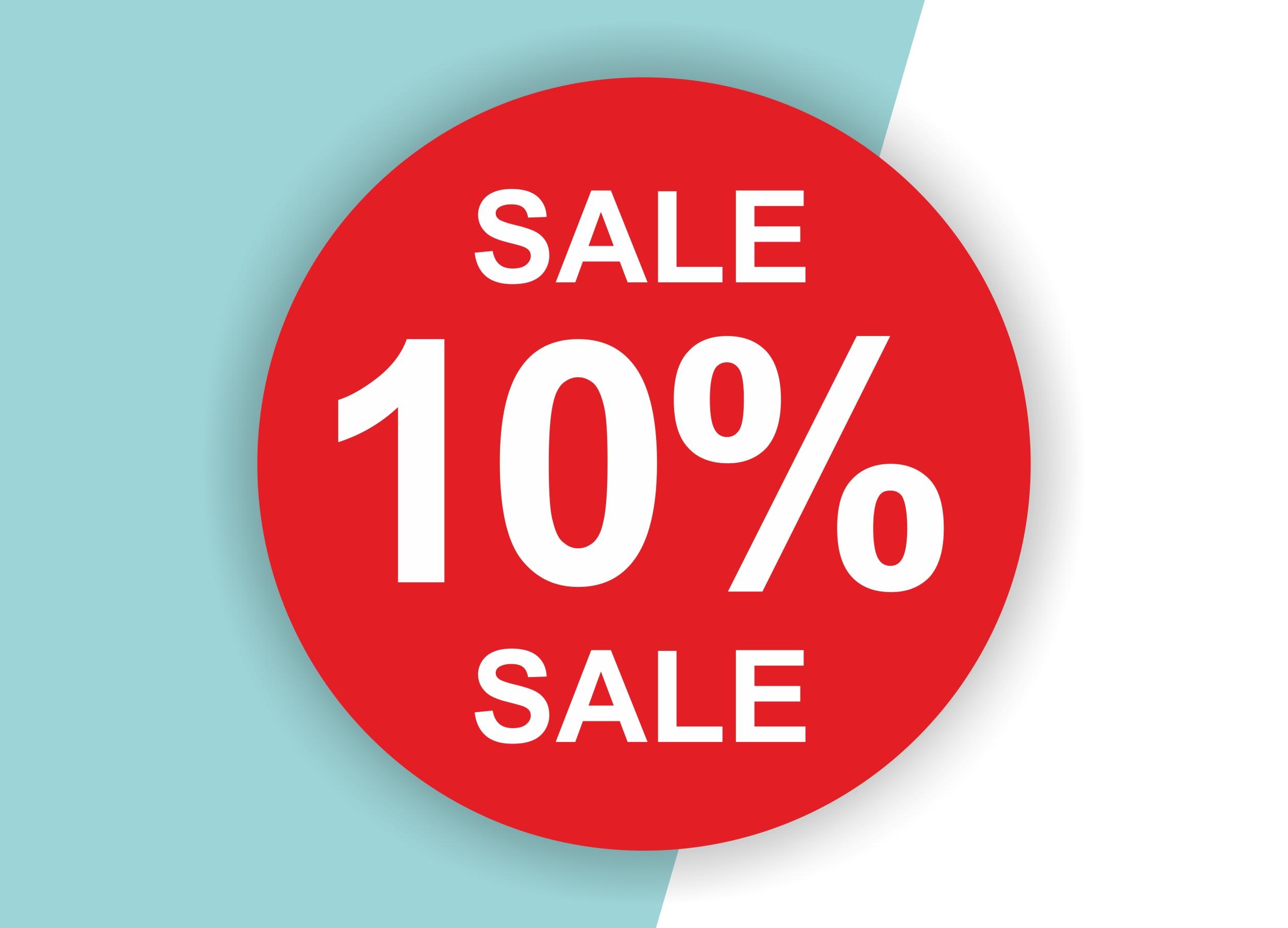 10% SALE Aufkleber Schaufenster Rabatt Ausverkauf Schlussverkauf SSV WSV % — Farbe: Rot