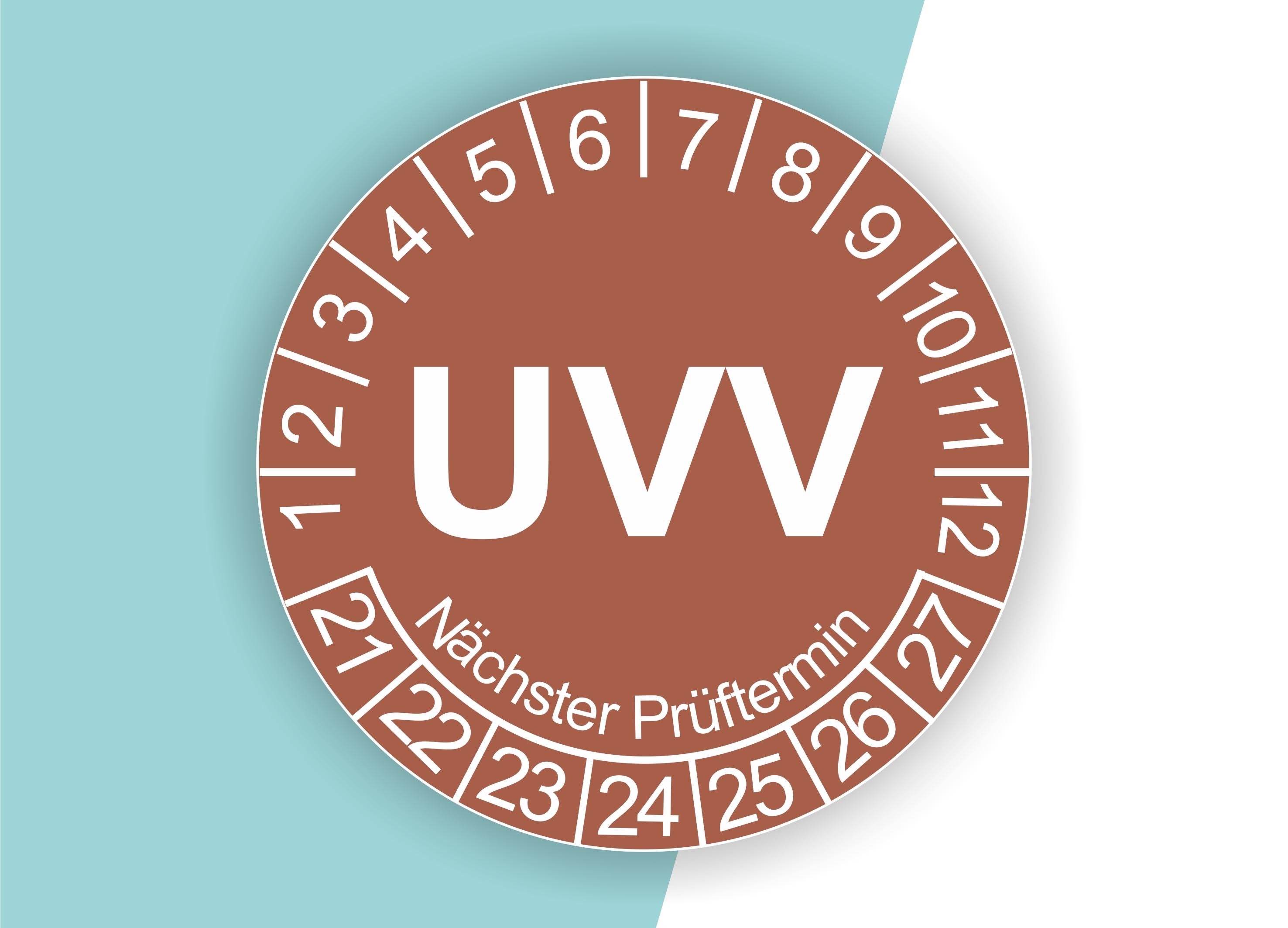 Prüfplaketten UVV als Aufkleber — 60 Stück — Ø 20 oder 30 mm — Farbe: Braun