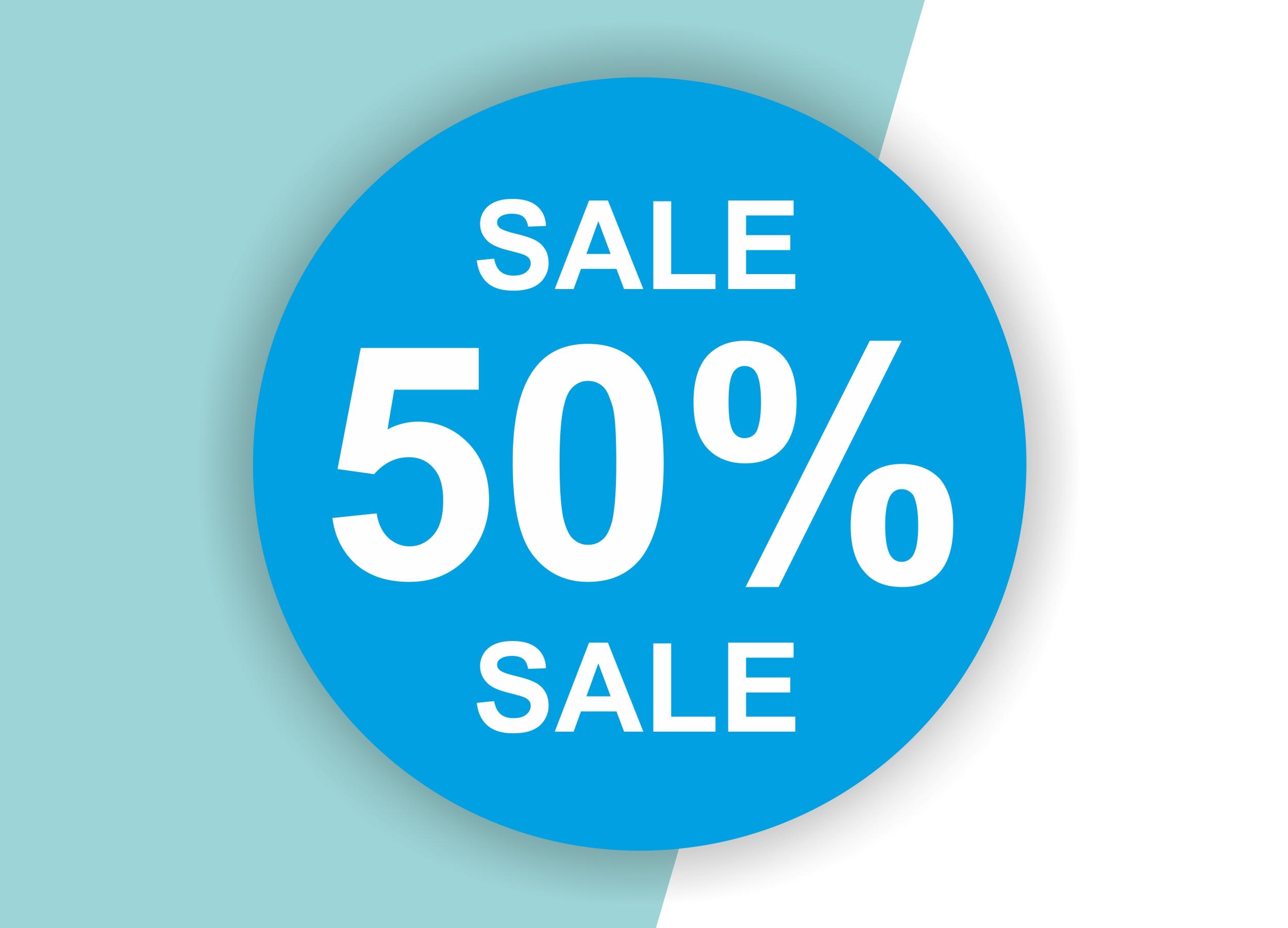 50% SALE Aufkleber Schaufenster Rabatt Ausverkauf Schlussverkauf SSV WSV % — Farbe: Blau-Weiß