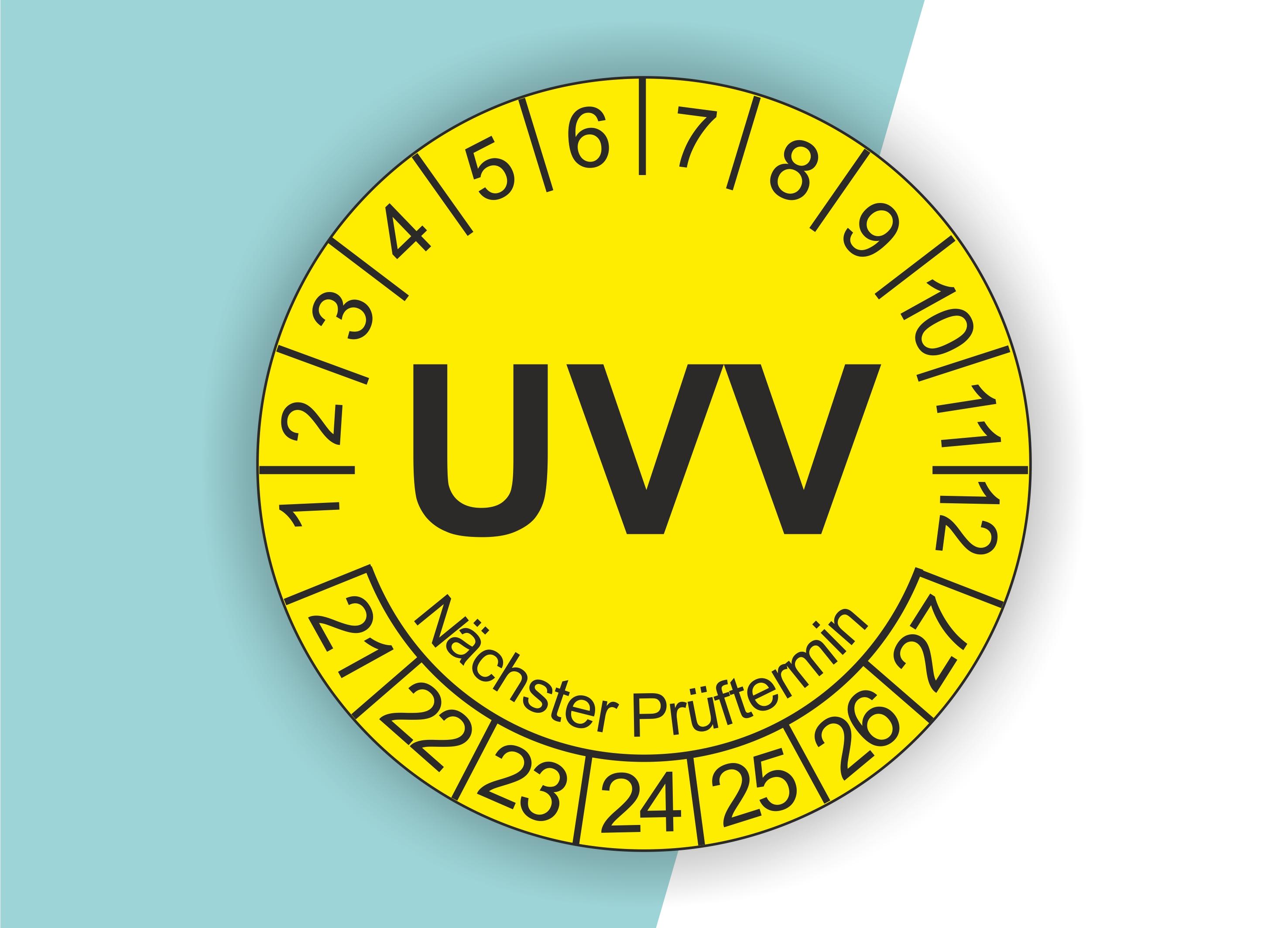 Prüfplaketten UVV als Aufkleber — 60 Stück — Ø 20 oder 30 mm — Farbe: Gelb