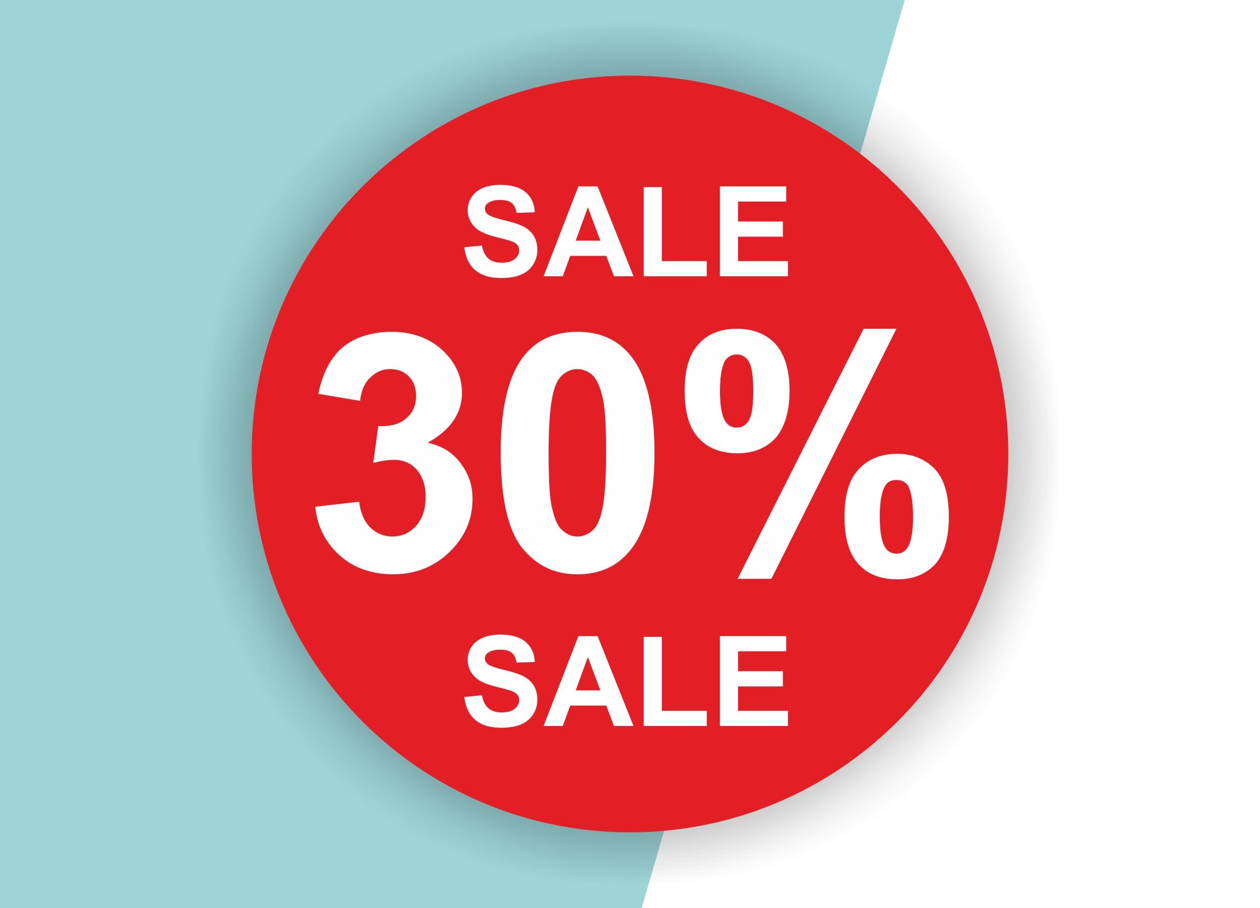 30% SALE Aufkleber Schaufenster Rabatt Ausverkauf Schlussverkauf SSV WSV % — Farbe: Rot