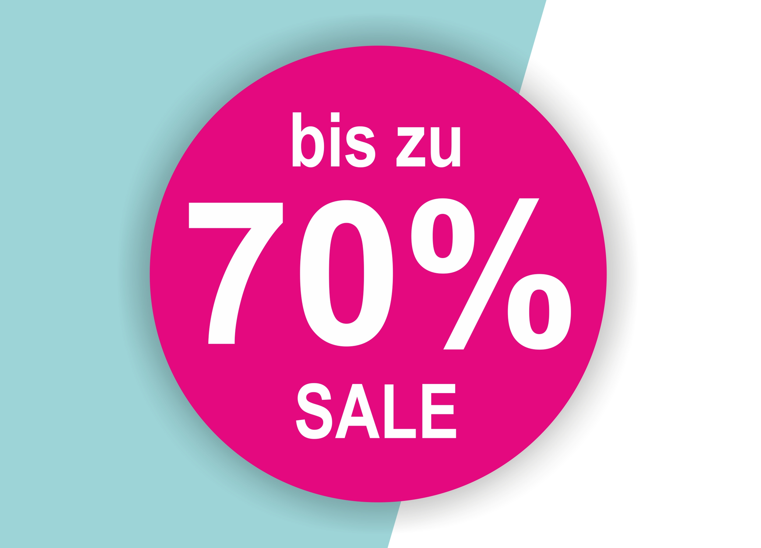 70% SALE Aufkleber Schaufenster Rabatt Ausverkauf Schlussverkauf SSV WSV % — Farbe: Pink-Weiß