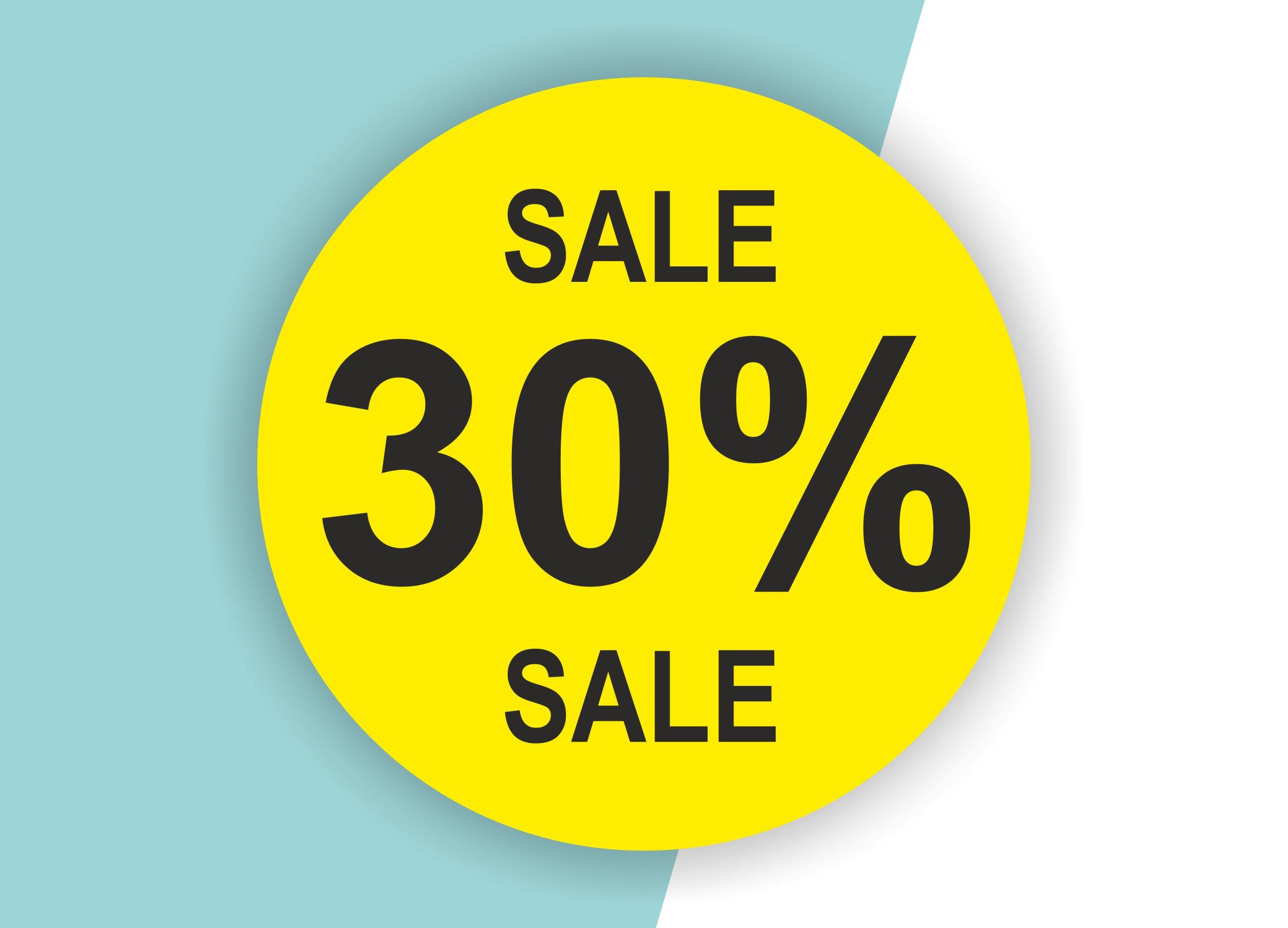 30% SALE Aufkleber Schaufenster Rabatt Ausverkauf Schlussverkauf SSV WSV % — Farbe: Gelb-Schwarz