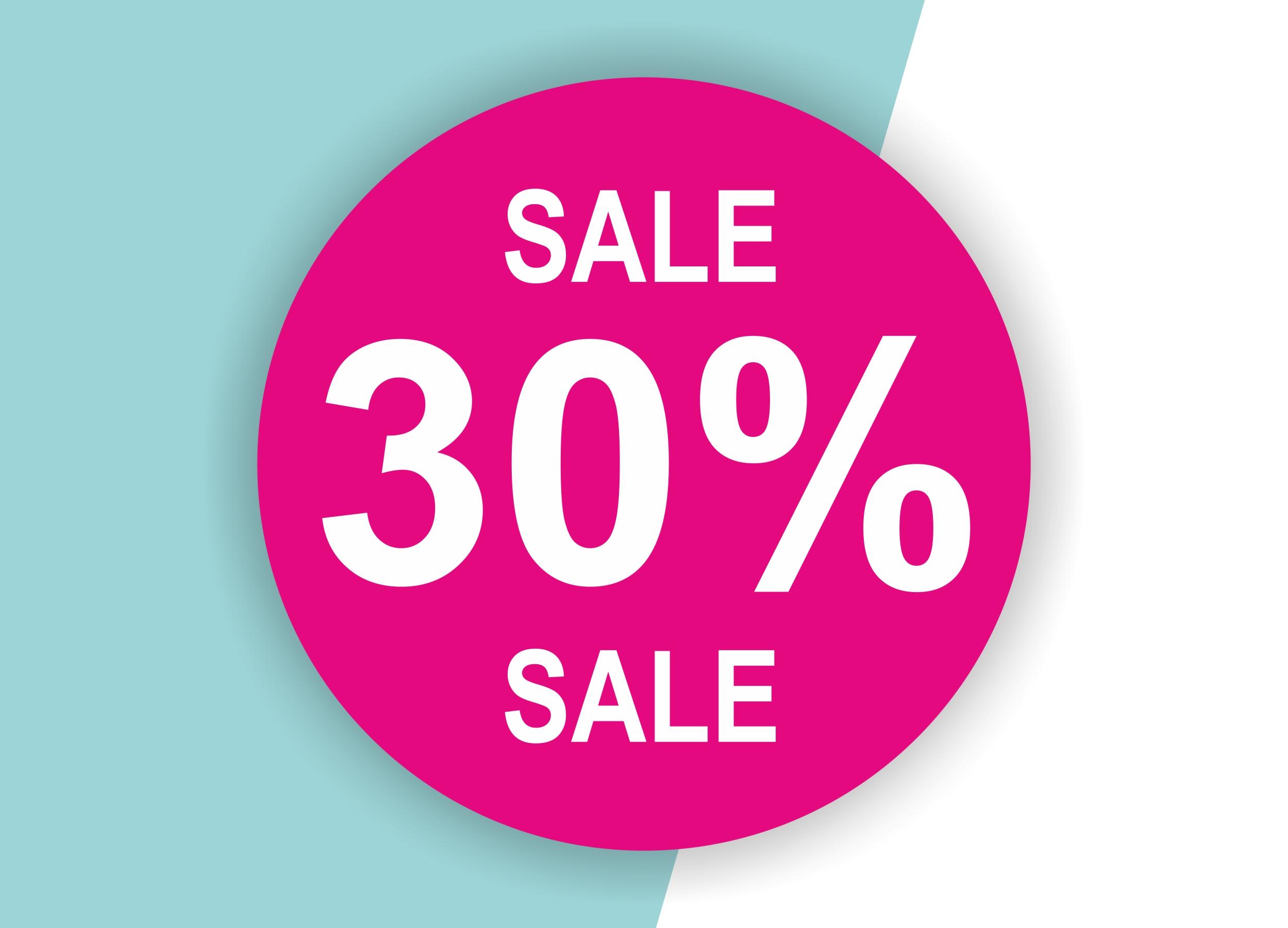 30% SALE Aufkleber Schaufenster Rabatt Ausverkauf Schlussverkauf SSV WSV % — Farbe: Pink-Weiß