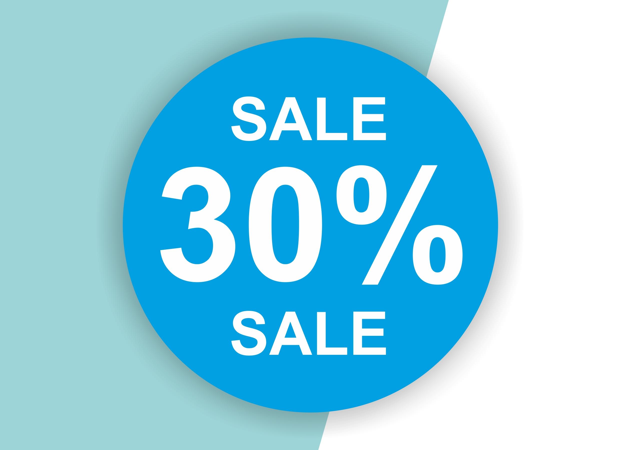 30% SALE Aufkleber Schaufenster Rabatt Ausverkauf Schlussverkauf SSV WSV % — Farbe: Blau-Weiß