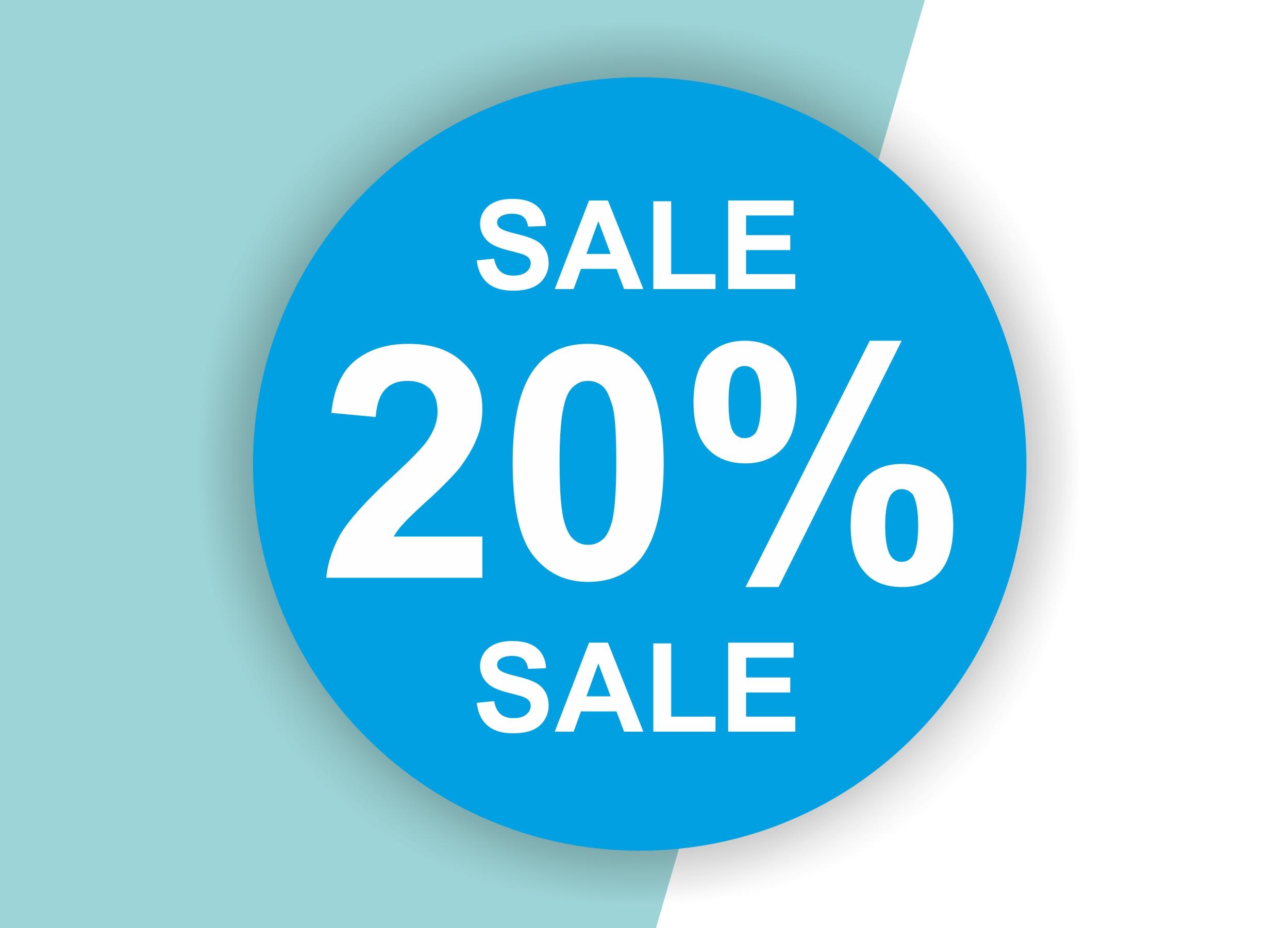 20% SALE Aufkleber Schaufenster Rabatt Ausverkauf Schlussverkauf SSV WSV % — Farbe: Blau-Weiß