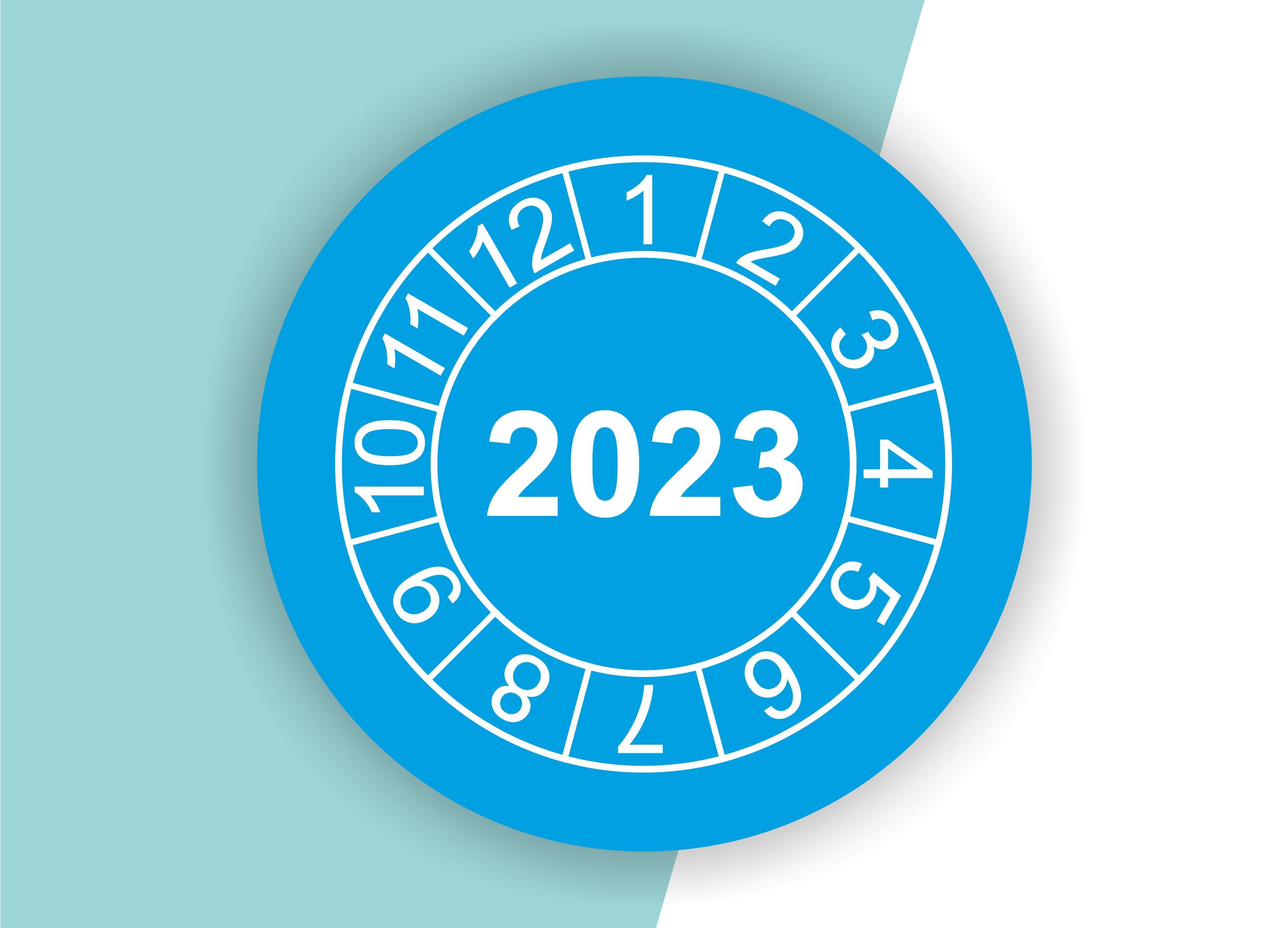"""Prüfplaketten / Jahresplaketten """"2023"""" als Aufkleber — 60 Stück — Ø 20 oder 30 mm"""
