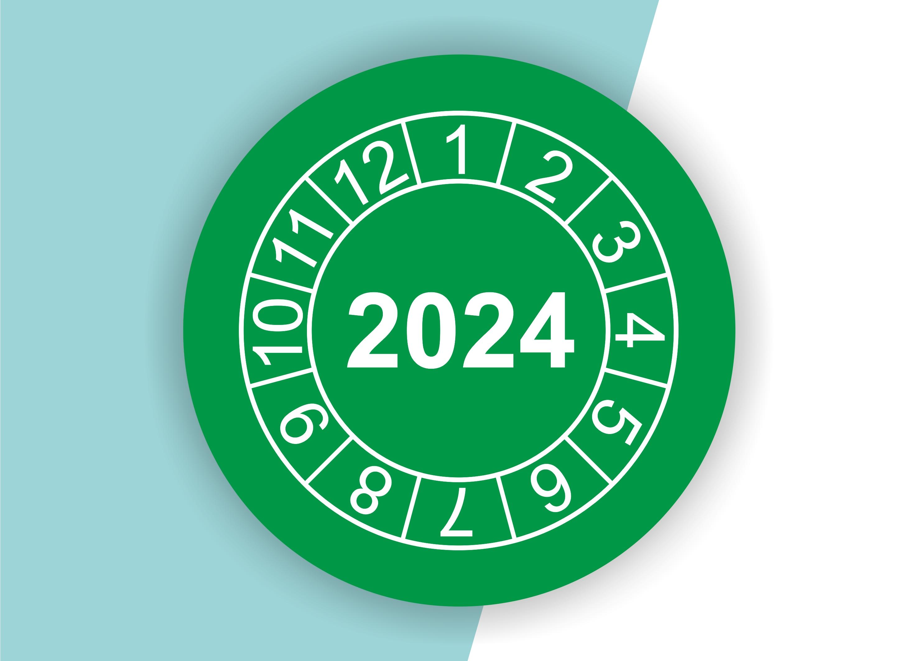 """Prüfplaketten / Jahresplaketten """"2024"""" als Aufkleber — 60 Stück — Ø 20 oder 30 mm"""