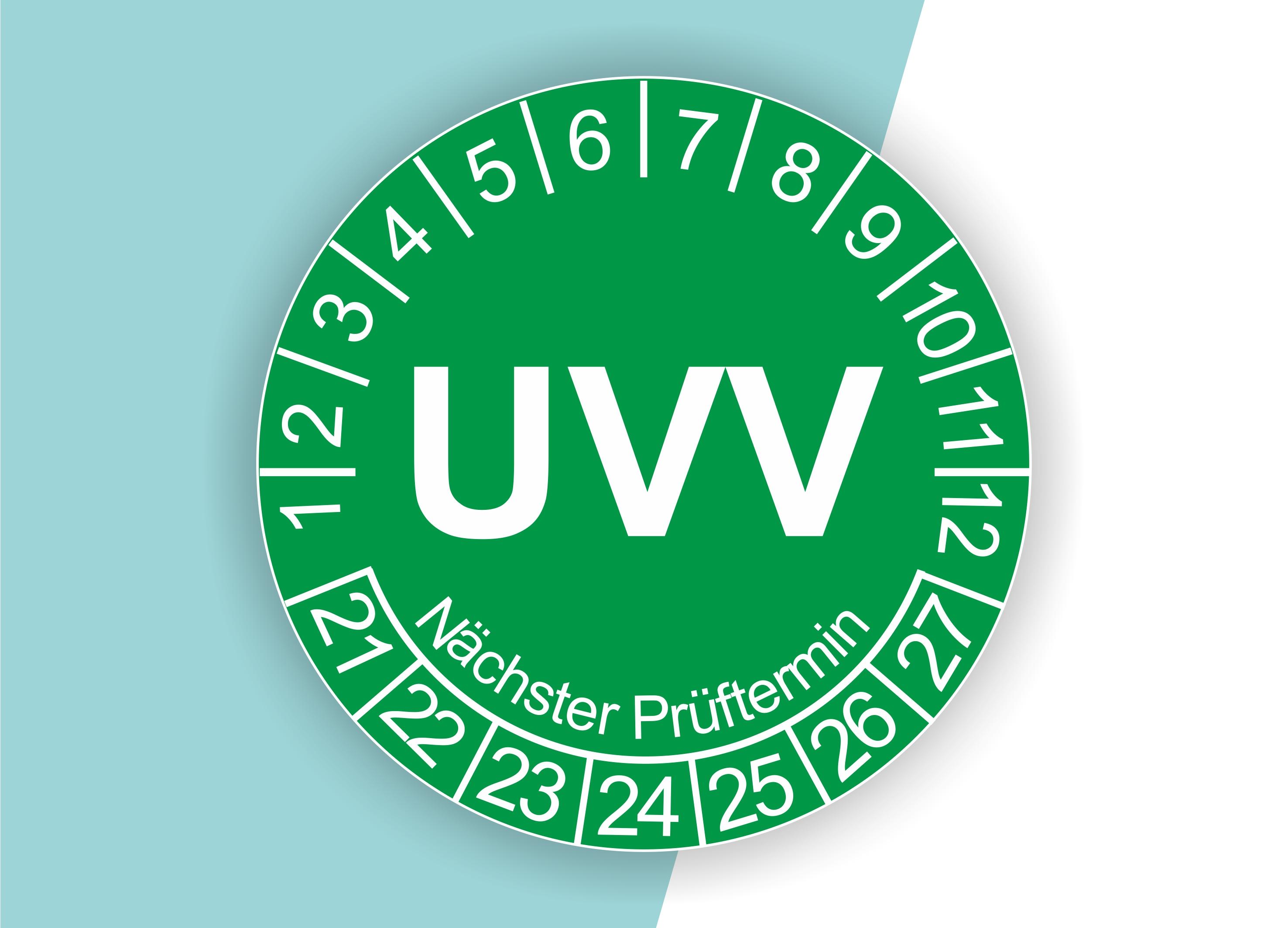 Prüfplaketten UVV als Aufkleber — 60 Stück — Ø 20 oder 30 mm — Farbe: Grün