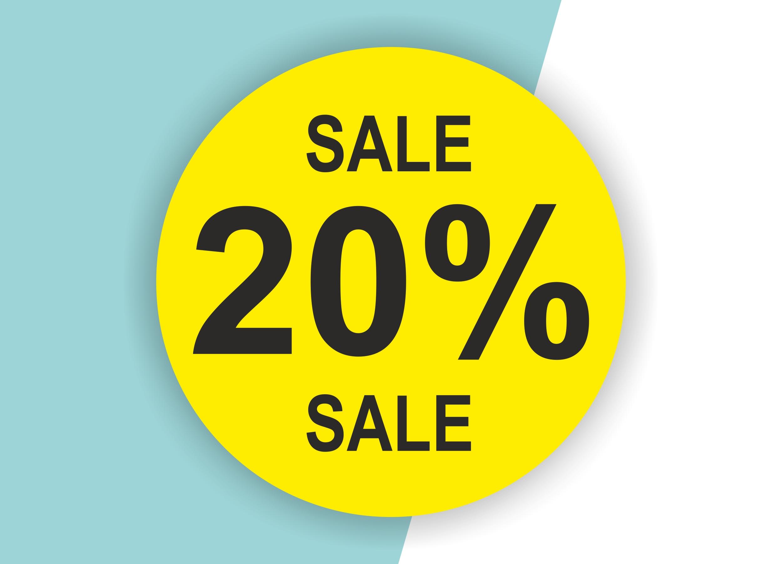 20% SALE Aufkleber Schaufenster Rabatt Ausverkauf Schlussverkauf SSV WSV % — Farbe: Gelb-Schwarz