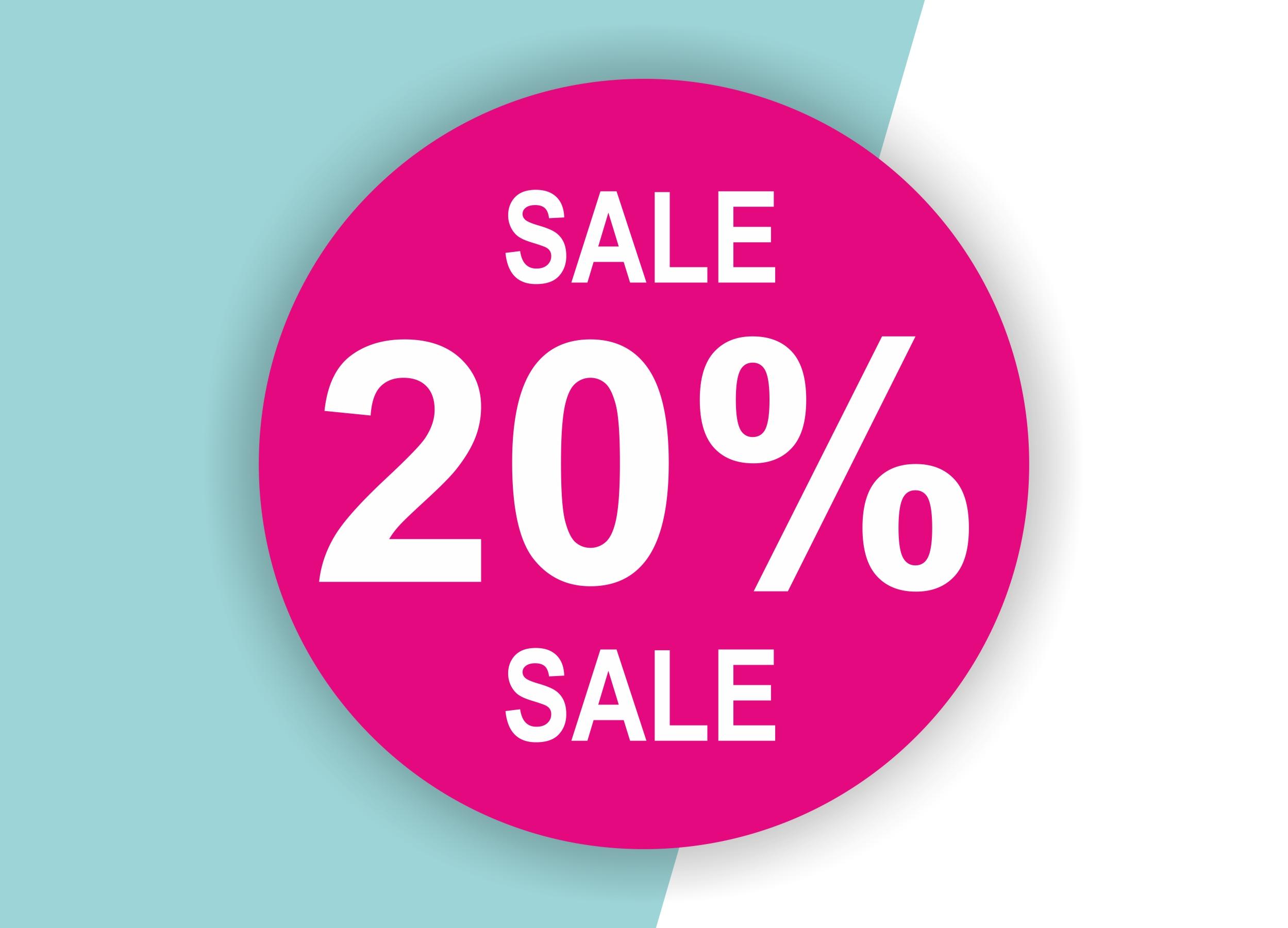 20% SALE Aufkleber Schaufenster Rabatt Ausverkauf Schlussverkauf SSV WSV % — Farbe: Pink-Weiß
