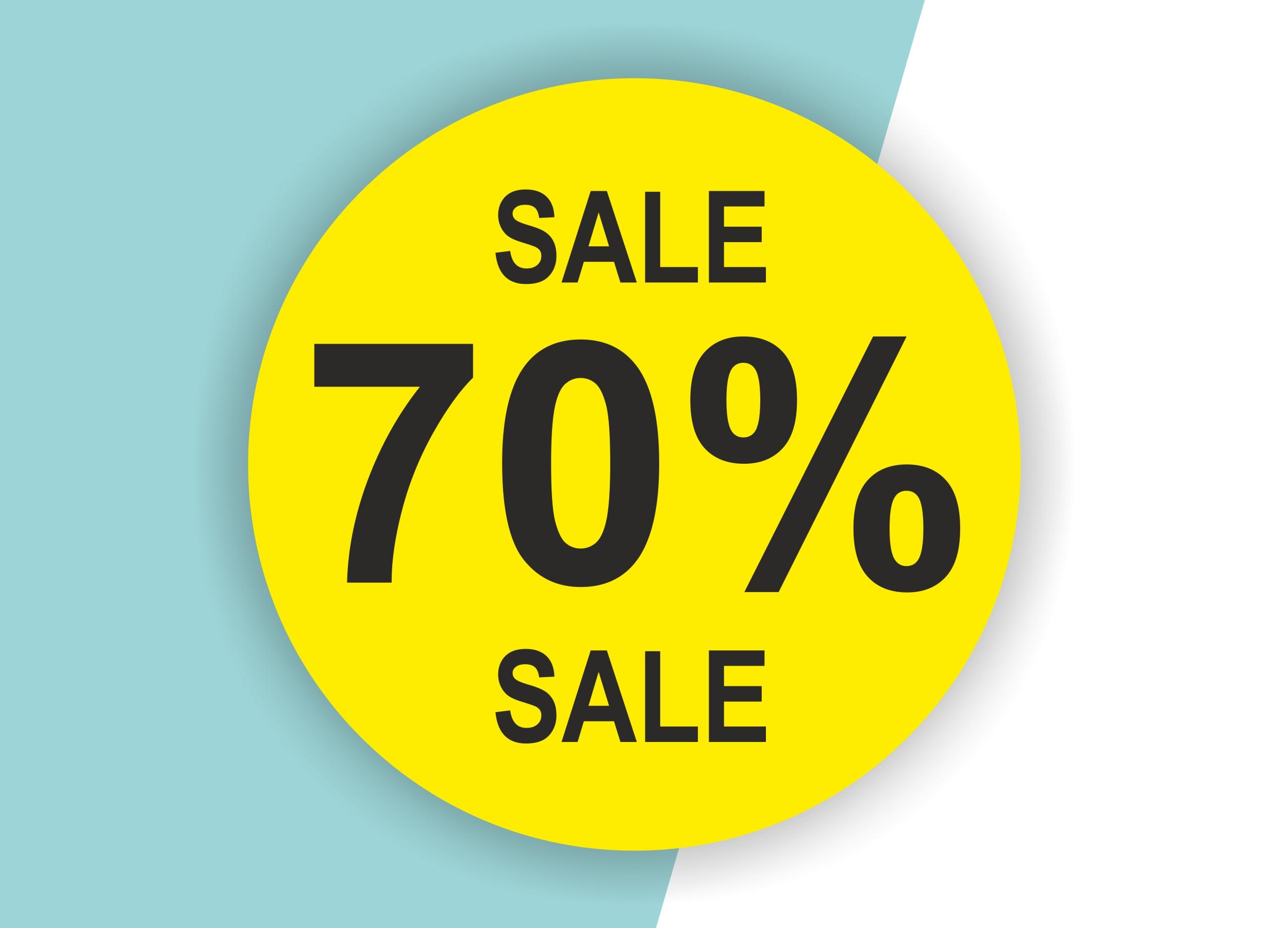 70% SALE Aufkleber Schaufenster Rabatt Ausverkauf Schlussverkauf SSV WSV % — Farbe: Gelb-Schwarz