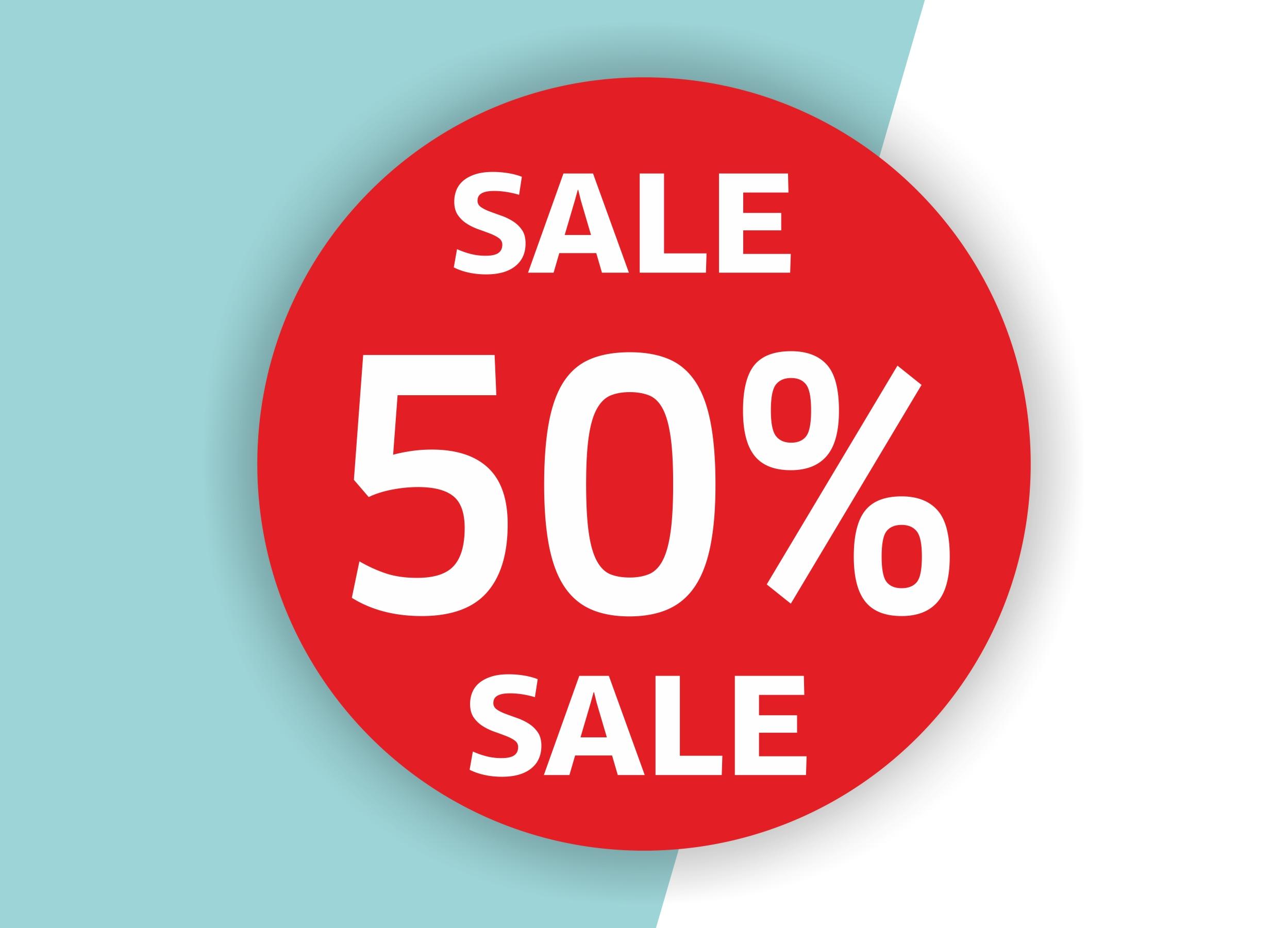 50% SALE Aufkleber Schaufenster Rabatt Ausverkauf Schlussverkauf SSV WSV % — Farbe: Rot