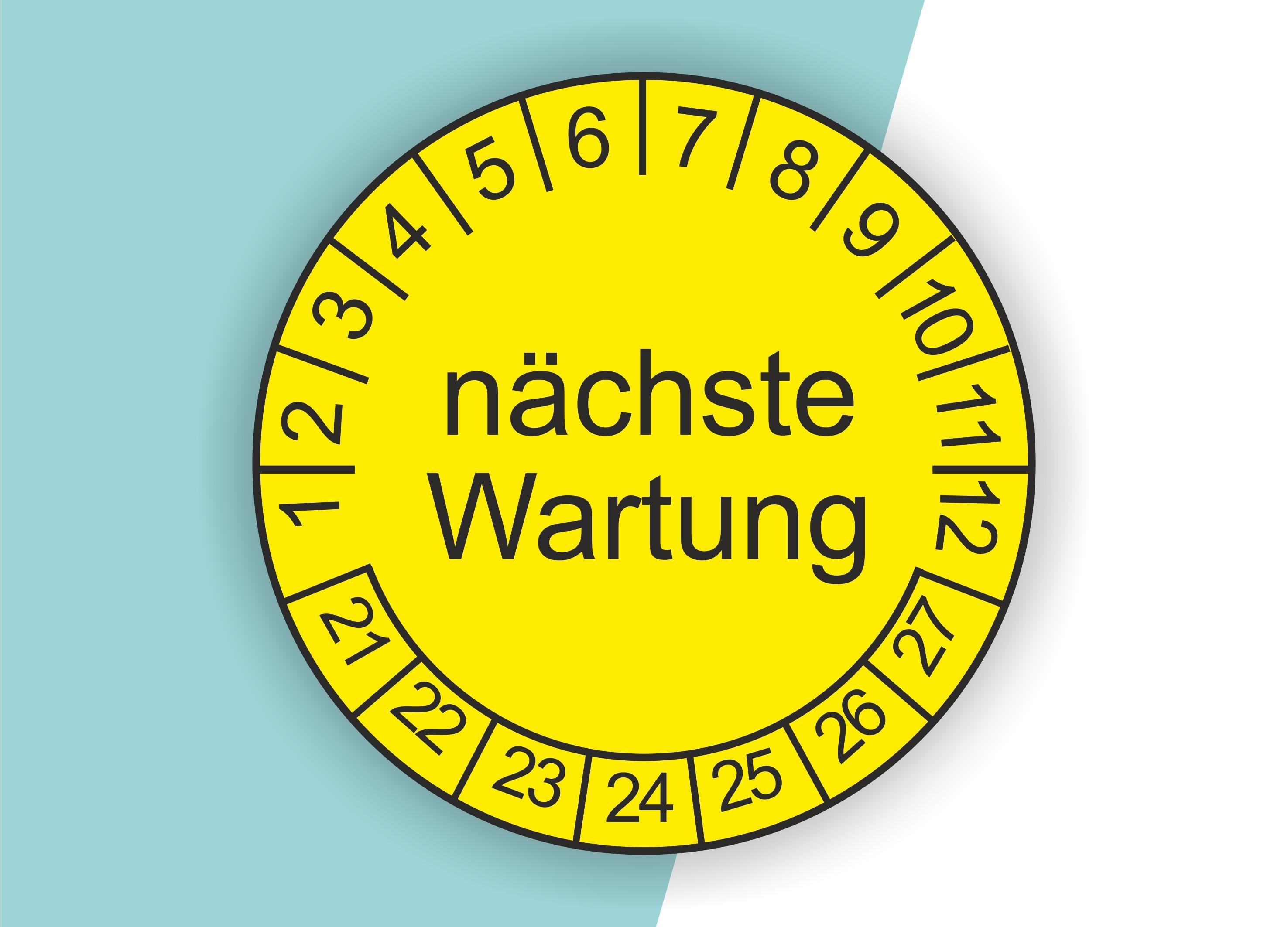 """Prüfplaketten """"Nächste Wartung"""" als Aufkleber — 60 Stück — Ø 20 oder 30 mm"""