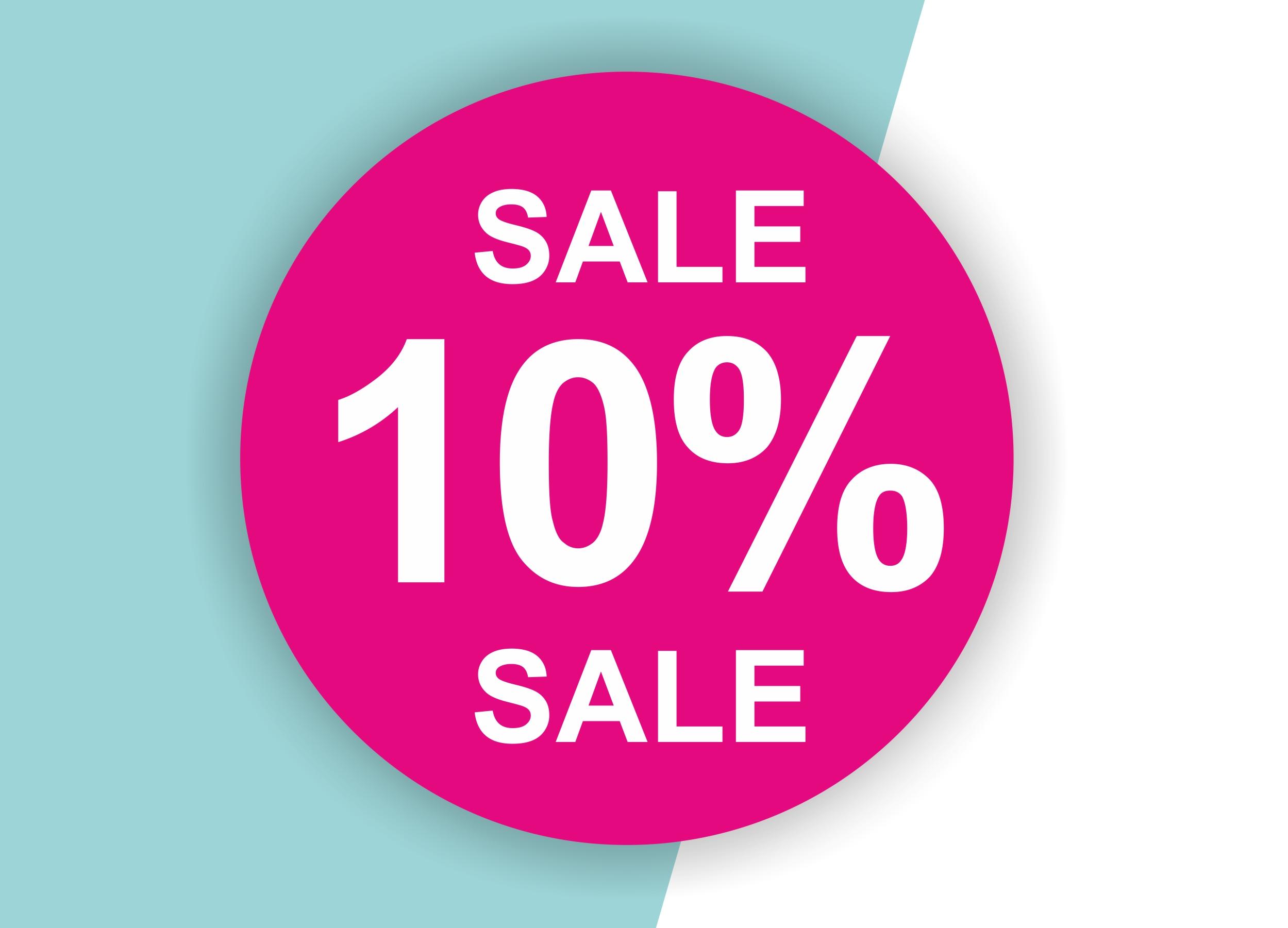 10% SALE Aufkleber Schaufenster Rabatt Ausverkauf Schlussverkauf SSV WSV % — Farbe: Pink-Weiß