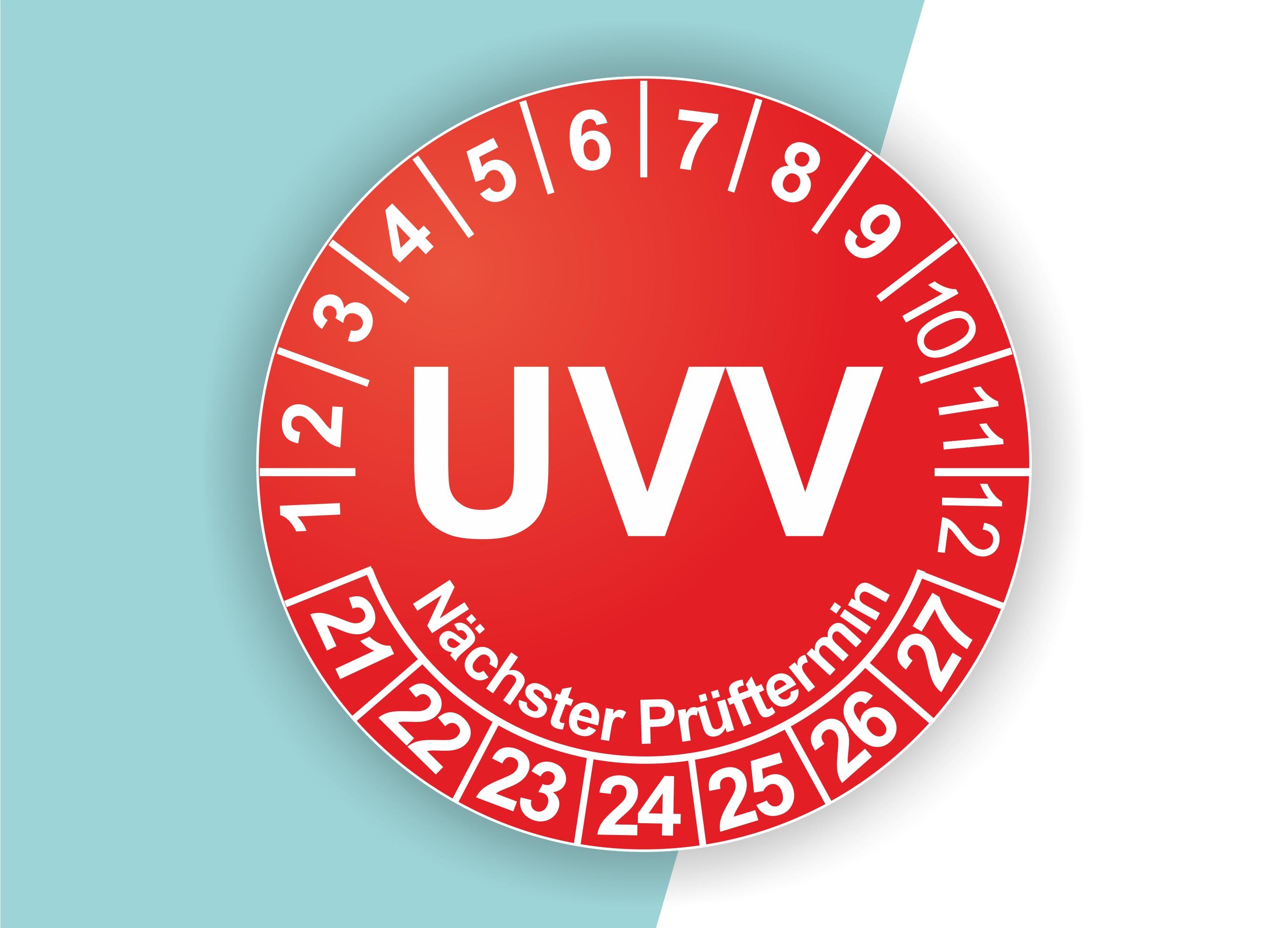 Prüfplaketten UVV als Aufkleber — 60 Stück — Ø 20 oder 30 mm — Farbe: Rot