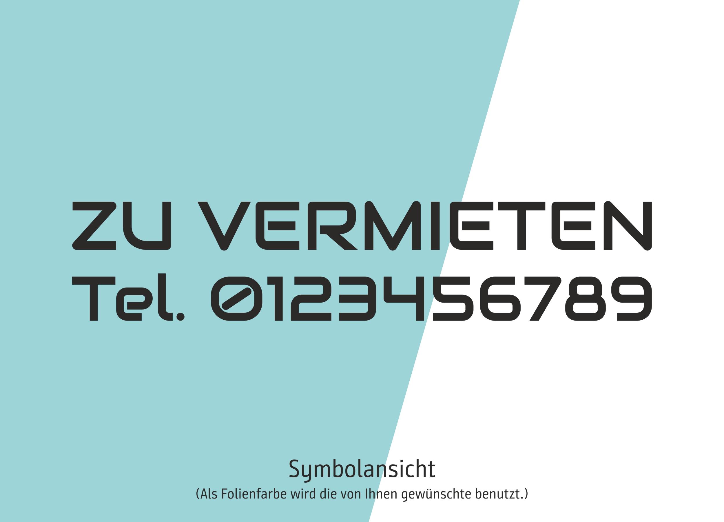 "Aufkleber / Schriftzug ""ZU VERMIETEN"" mit Telefonnummer — Schaufenster-Beschriftung"