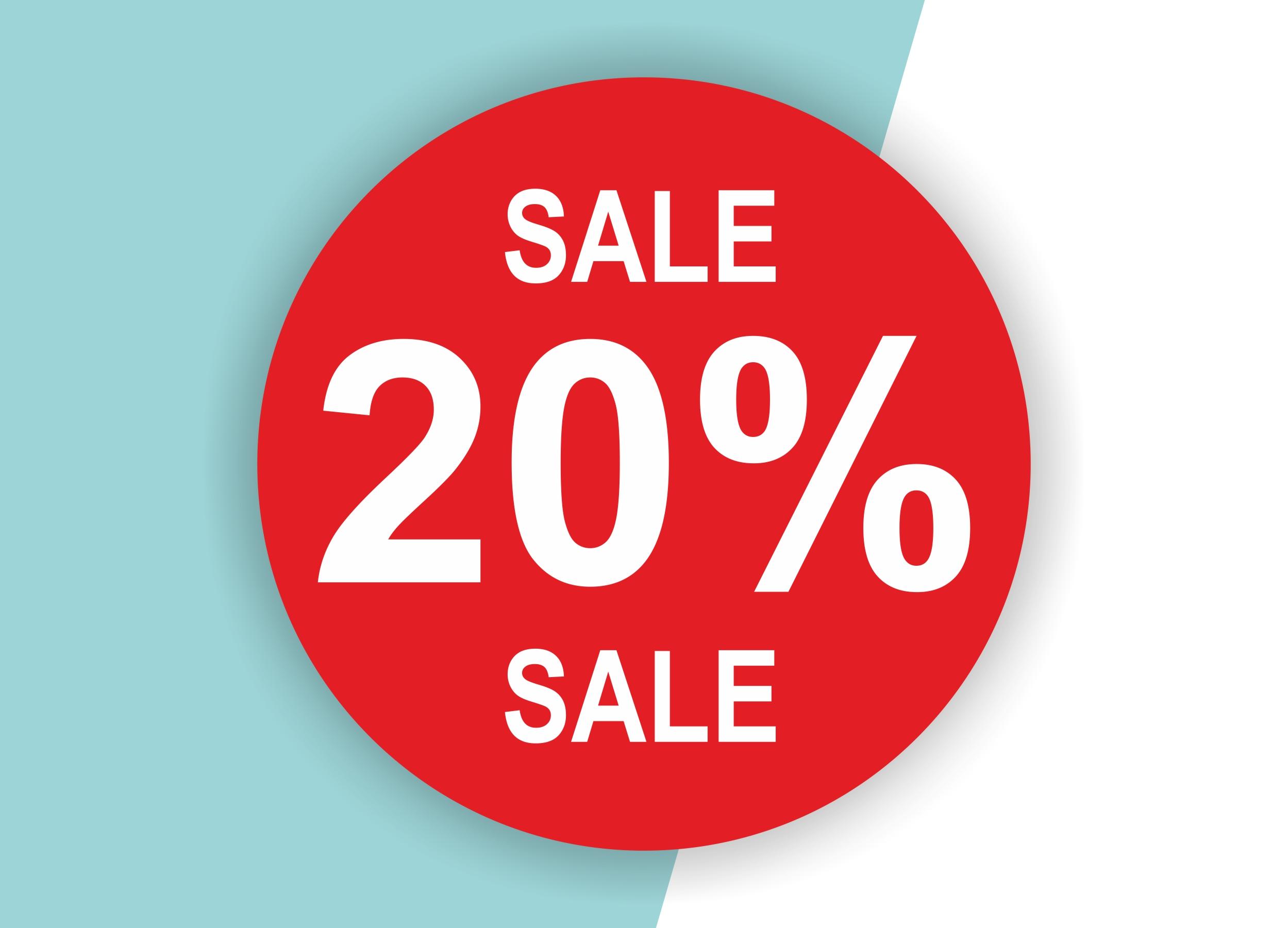 20% SALE Aufkleber Schaufenster Rabatt Ausverkauf Schlussverkauf SSV WSV % — Farbe: Rot