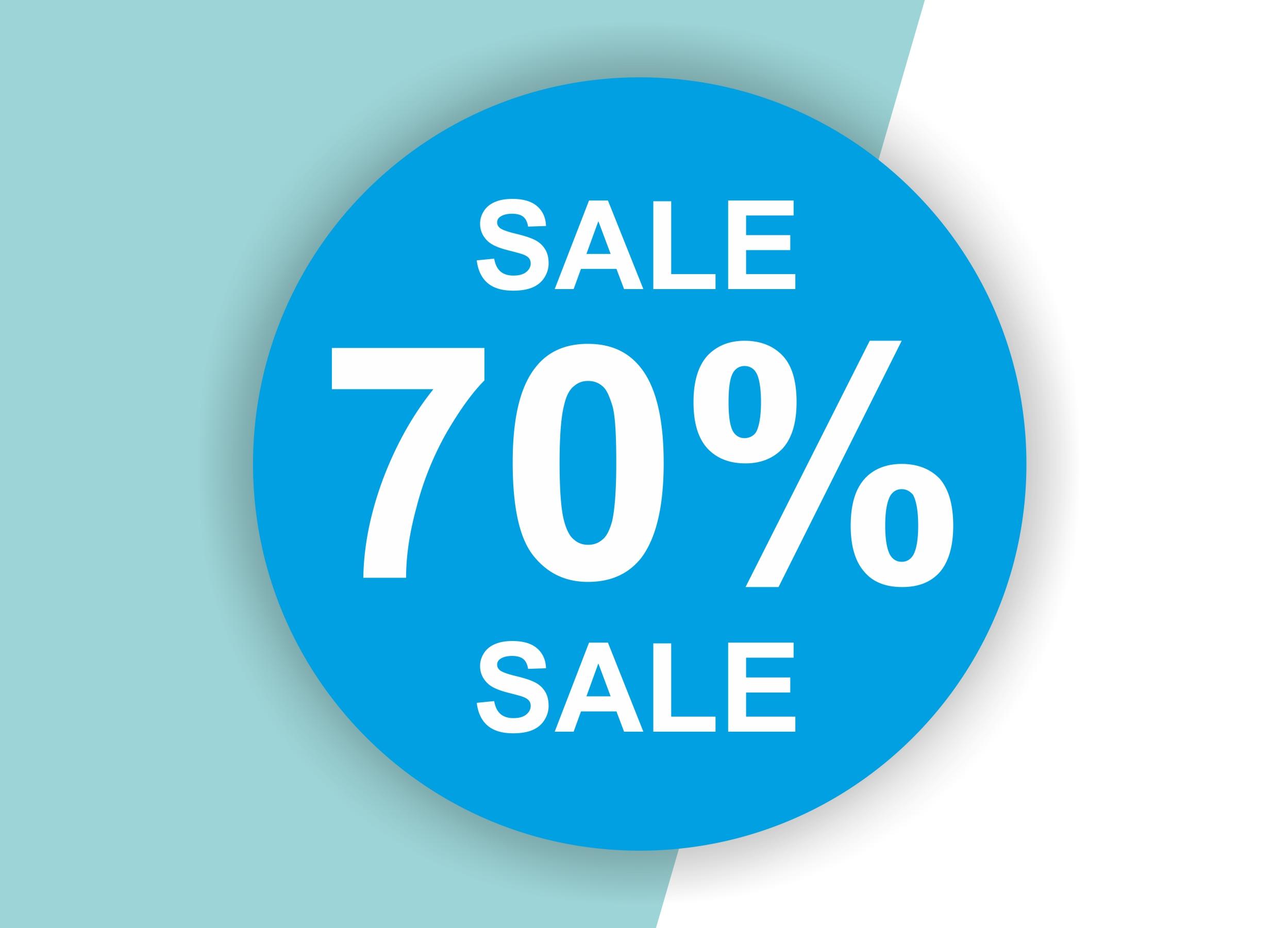 70% SALE Aufkleber Schaufenster Rabatt Ausverkauf Schlussverkauf SSV WSV % — Farbe: Blau-Weiß